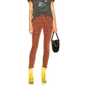 MOTHER Looker Ankle Fray Animal Print Skinny Jean